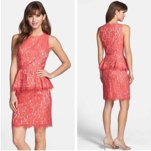 Eliza J Lace Peplum Sheath Dress